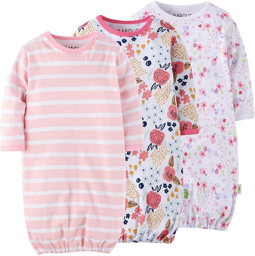 Marquebaby Baby Sleep Gown - Organic Cotton Lightweight 0-18 Months Sleeper for Easier Diaper Changing with Mitten Cuffs