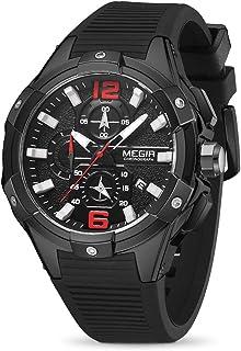 MEGIR 2020 Men's Quartz Sports Watches Chronograph Military Luminous Big Face with Silicone Strap MN2161G