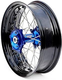 Motodak Compleet achterwiel Art SM 17 x 4,50 x 36t velg zwart/naafblauw/spaken zilver/spaken zilver