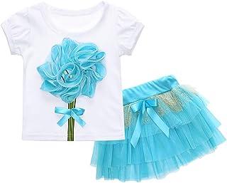 Yilaku Little Girls Tees Shirts Short Sleeve Tops Cartoon Print Summer Clothes Kids T-Shirts