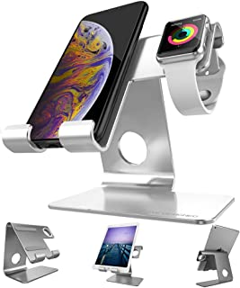 ZVEproof Apple Watch Stand 2 in 1 Universal Desktop Cellphone Stand and Apple Watch Stand (Silver, Stand-42-Case)