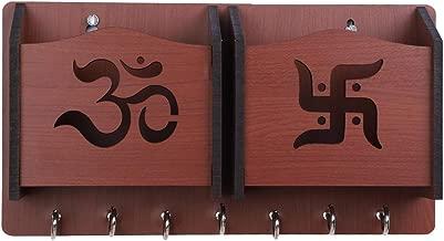 Sehaz Artworks Om-Swastik-BR-KeyHolder Wooden Key Holder (7 Hooks)