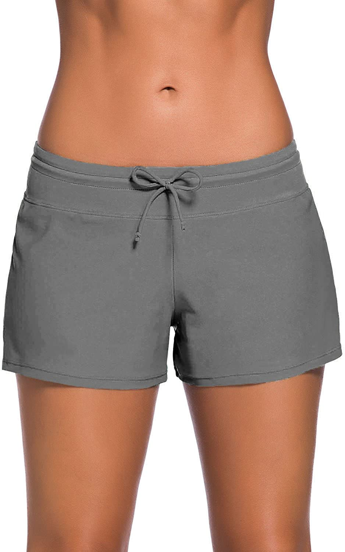 Happy Sailed Women Sports Summer Tankini Bottom Slit Swim Beach Board Shorts