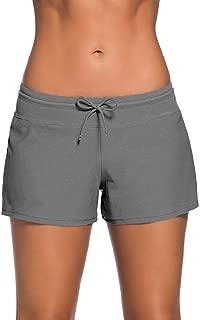 Cokar Womens Long Board Shorts High Waist Boy Leg Drawstring Swim Shorts Tankini Bottom