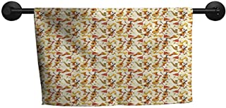 ZSUO Towel W 24 x L 8(inch) Men's Towel,Jazz Music,Pattern with Horn Drum Guitar and Fiddlestick Folk Music Ensemble Instruments,Multicolor