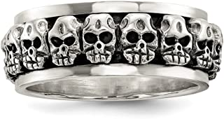 925 Sterling Silver Spinning Center Skull Band Ring Man Fine Jewelry Dad Mens Gift Set