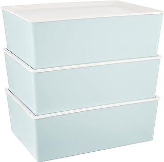 HOUZE Linear Box with Lid, 12L, Set Of 3 (SB-1502-BLUE-3)