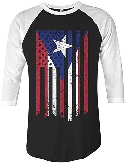 Puerto Rico American Flag Unisex Raglan T-Shirt