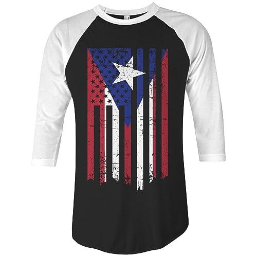 31088e5462 Threadrock Puerto Rico American Flag Unisex Raglan T-Shirt