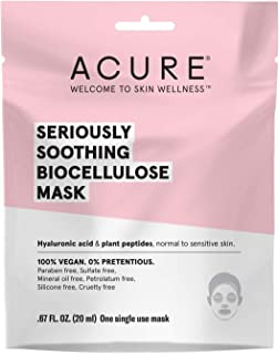 ACURE Seriously Soothing Biocellulose Gel Mask | 100% Vegan | For Dry to Sensitive Skin | Hyaluronic Acid & Plant Peptides - Soothes & Hydrates | Single Use Mask | 5 Count