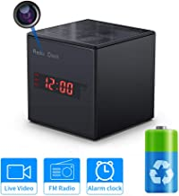 Hidden Camera WiFi Alarm Clock Radio,SDETER Wireless Speaker Spy Camera with Motion Detect,FM Radio,Night Vision,USB Charging Port,Touch-Activated Control, Body Nanny Camera for Home