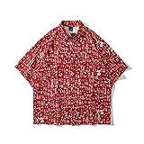 CIDCIJN Camisa Hawaiana para Hombre - Patrón De Bendición Impreso En 3D Hombres Playa Camisa Corta Botón Abajo Camisa Solapa Camisa Estampado Top Beachwear Verano Manga Corta Lapel Camisa Impresa, M