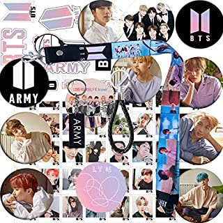 Bangtan Boys Set- 12 Pack Button Pins 40 Pack Photo Card 40 Pack Member Stickers 1 Pack Long Lanyard 1 Pack Wrist Strap 1 Pack Key Chain 1 Pack 3D Sticker 1 Pack Tattoo Sticker