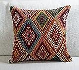 Kissenbezug, traditioneller türkischer Kelim-Stil, quadratisch, 43,2 x 43,2 cm, schweres...