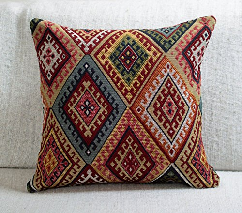 Traditional Turkish Kilim Style Cushion Cover. 17' x 17' Square Cover. Heavyweight Woven Kilim Fabric Diamond Pattern.