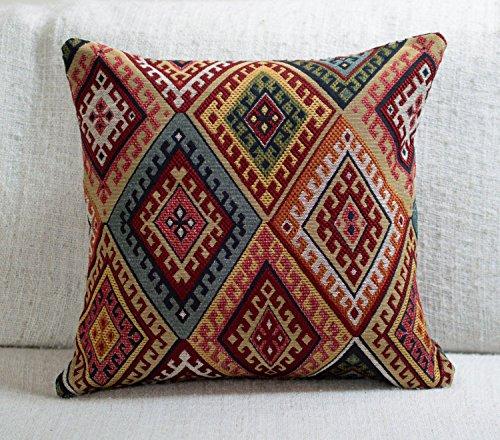 Kissenbezug, traditioneller türkischer Kelim-Stil, quadratisch, 43,2 x 43,2 cm, schweres Kelim-Gewebe, Rautenmuster