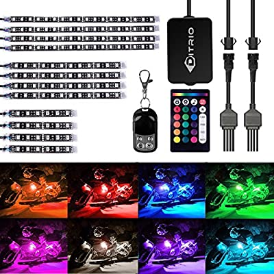 DITRIO 12Pcs Motorcycle LED Light Kit Strips Multi-Color Accent Glow Neon Ground Effect Atmosphere Lights Lamp with Wireless Remote Controller for Harley Davidson Honda Kawasaki Suzuki (Pack of 12) from DITRIO