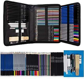 أقلام رسم ورسم مجموعة من 71 قطعة، لوازم فنية أقلام رصاص ملونة مع سحاب قابل للطي وكتاب رسومات، هدية مثالية للمبتدئين أو الأ...