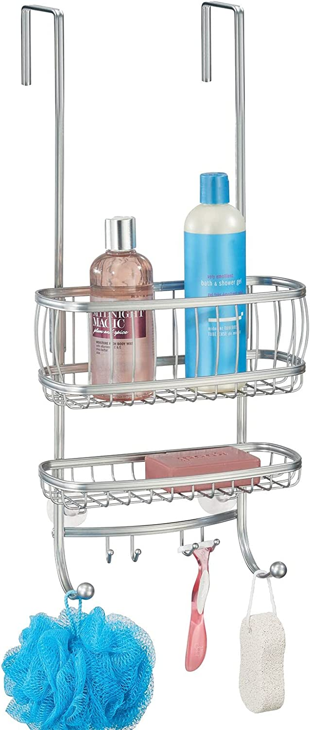 New Orleans Mall mDesign Small High material Metal Over Door Tub Shower Hangi Bathroom Caddy