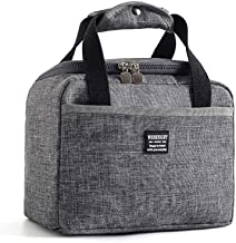Lunch Bag Bento Box lining, Durable Insulated Lunch Box Tote Bag Reusable Lunch Bag, Leakproof Waterproof Lunch Cooler Tote (Gray and Blue)