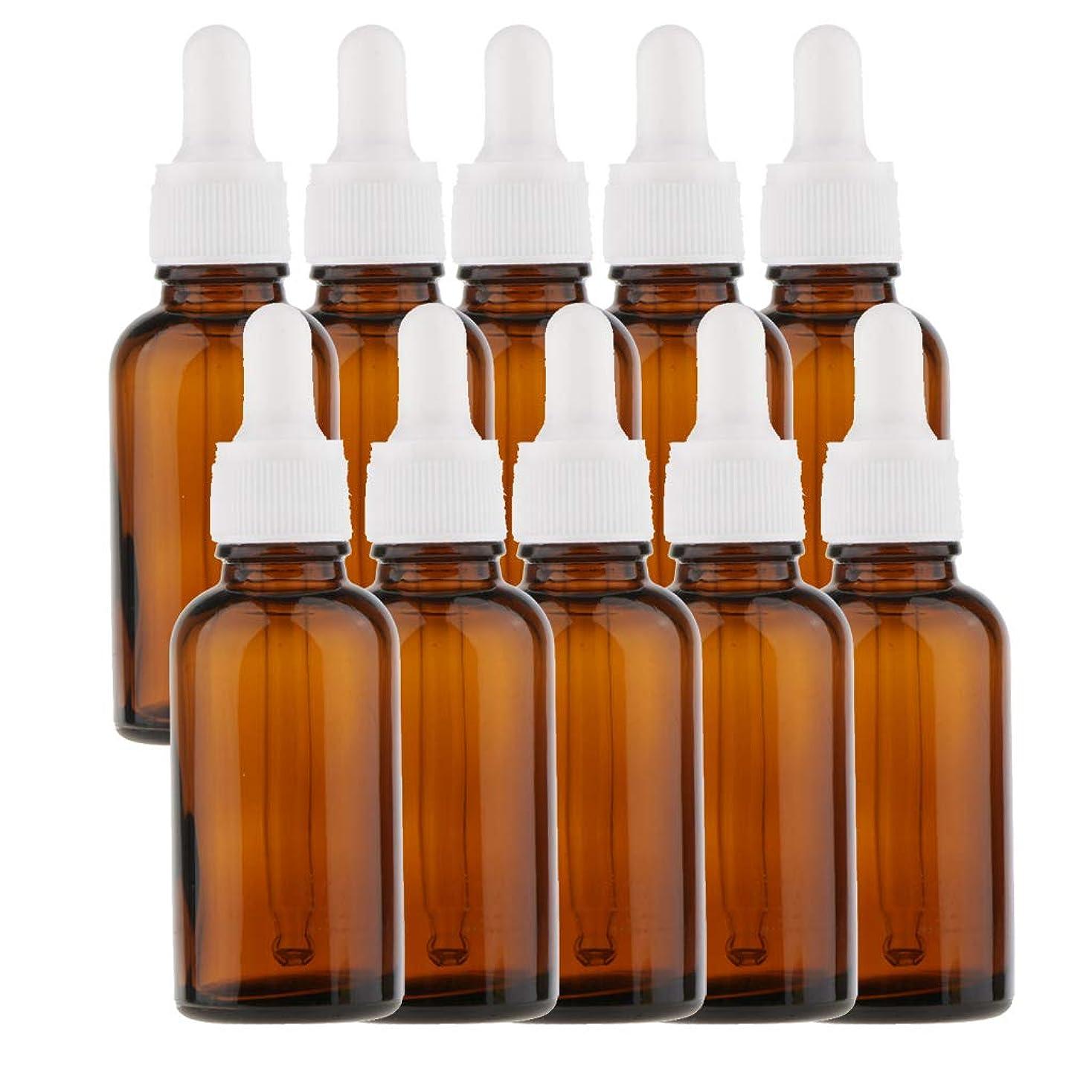 確立害従事する10個 オイルボトル 空ボトル ガラス コスメ用 詰替え ドロッパー バイアル チューブ 旅行小物 5サイズ選べる - 30ml