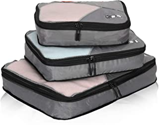 Travel Compression Packing Cubes Expandable Packing Organizer 3 Pieces Set Grey