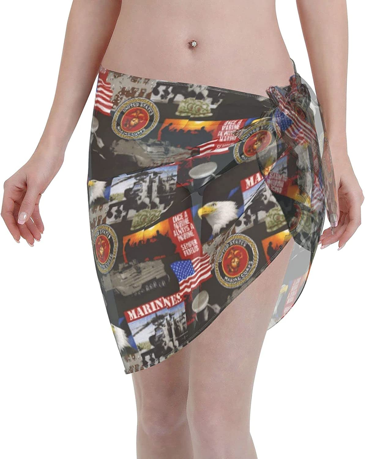 FSERSANHW USA 70% OFF Outlet Super popular specialty store Marines Military Chiffon Women Beach Short Sarong