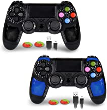 2 Pack PS4 Controller - OUBANG Wireless Remote Joystick for Playstation 4(Black elf+Sapphire )
