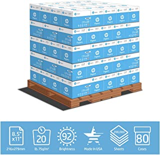 HP Printer Paper Office 20lb, 8.5 x 11, 80 Quickpack Cases, 200,000 Sheets, No Ream Wrap, Made in USA, Forest Stewardship Council, 92 Bright, Acid Free, Engineered for HP Compatibility, 112103P