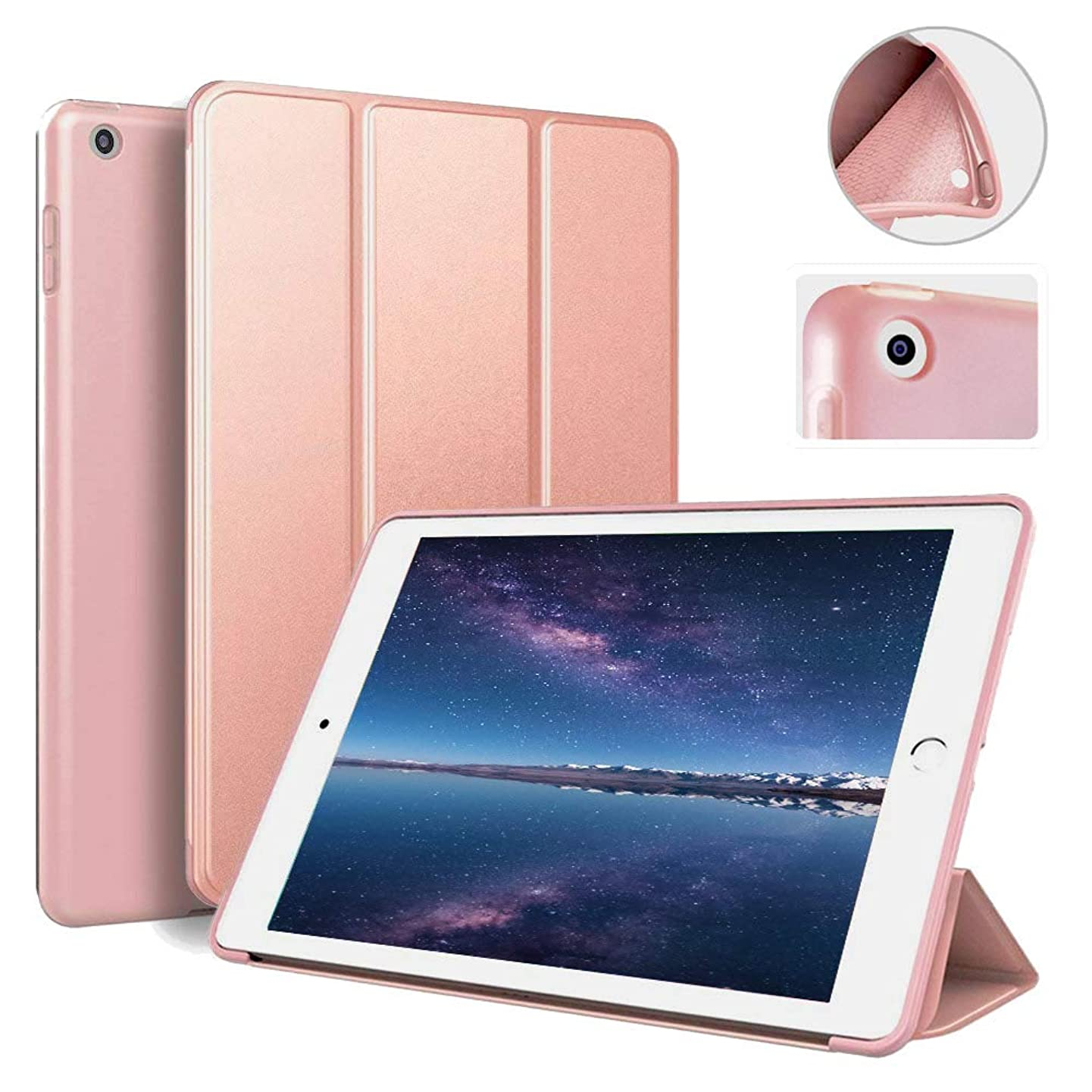 IPad 9.7 inch 2017/2018 Case aoub Ultra Slim Lightweight Smart Trifold Stand Cover with Magnetic Auto Wake & Sleep Function/Soft TPU Back Cover for iPad 5th/6th Generation (Rose Gold)