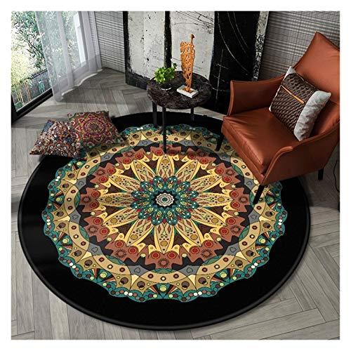 WZLL Retro Circular Area Rugs Washable Ethnic Style Round Carpet for Living Room Balcony Diameter 60cm/80cm/90cm/100cm/120cm/140cm (Color : B, Size : Ø60cm)
