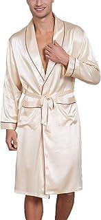 7b7cb805b0 Lu s Chic Men s Satin Kimono Robe Silk Long Pockets Bathrobe Soft Luxury  Spa Hotel Loungewear
