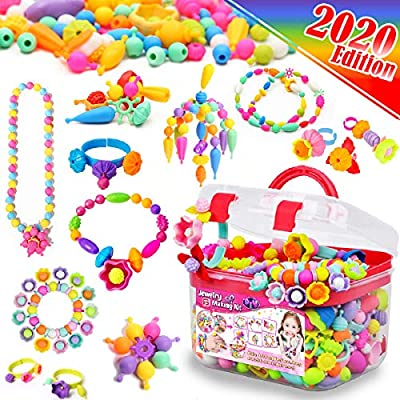 FunzBo Snap Pop Beads for Girls Toys - Kids Jewelry Making Kit Pop-Bead Art and Craft Kits DIY Bracelets Necklace Hairband and Rings Toy for Age 3 4 5 6 7 8 Year Old Girl by FunzBo