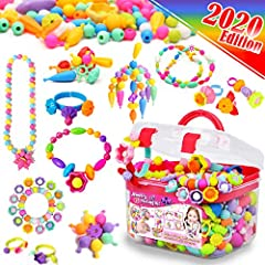 🌺【ALL IN ONE COMBO】Contains 520 assortments of Snap pop beads to satisfy girl's jewelry making needs. 🌺【HASSLE FREE MATERIALS】 Super easy to use, there is no need for strings or threads. Snap the beads together and voilà! Great toys for 4 year old gi...