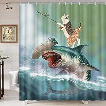 Divertida cortina de regadera con diseño de animales, gato de pie sobre tiburón en el océano, cortina de ducha para baño, ...