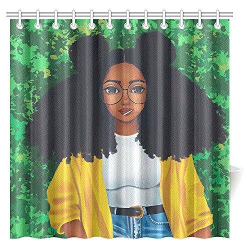 CTIGERS African Girl Shower Curtain Cartoon Afro Hair Woman Polyester Fabric Bathroom Decoration 72 x 72 Inch