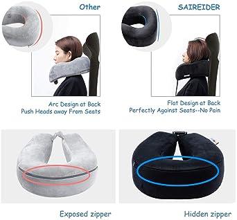 SAIREIDER Travel Pillow 100% Memory Foam Neck Pillow for Airplane Flight Travel Neck Support Pillows