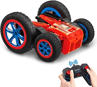 VATOS RC Stunt Car Remote Control Car 4WD Off Road RC Flip Car, 360° Spins & Flips 180° Swing with Led Lights 2.4Ghz Double Sided Rotating Tumbling 3D Deformation Dance Car Kids Toy for Boys Girls