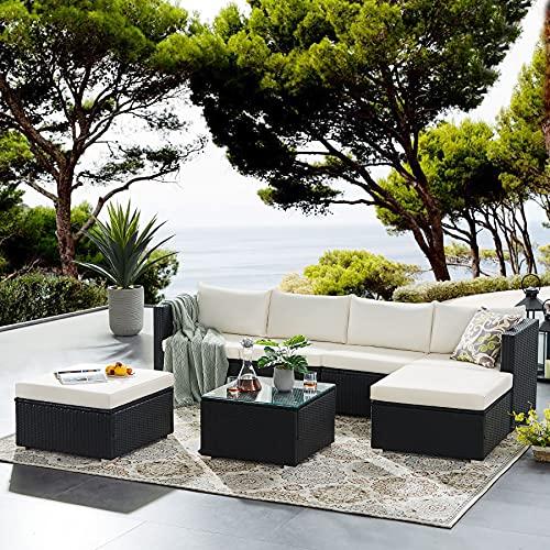 Tribesigns Conjunto de Muebles de Jardín 7 Piezas Ratán, con 2 Sillones, 2 Escabel, 1 Mesa de Vidrio, con Cojines, para Jardín, Terraza y Balcón (Negro/Beige)