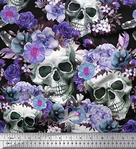 Soimoi Purple Cotton Cambric Fabric Skull,Rose & Anemone Flower Printed Fabric 1 Yard 42 Inch Wide