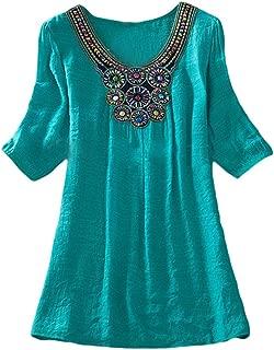 Jixin4you Women Embroider Casual T-Shirt TB01