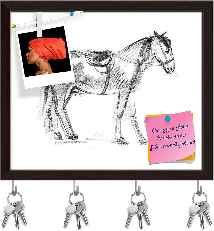 Artzfolio Horse D2 Key Holder Hooks   Notice Pin Board   Dark Brown Frame 19.2 X 16Inch