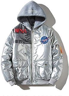 HBHHB NASA Men's Bomber Flight Jacket Windproof Sportswear Patch Embroidery Coat Baseball Jacket Detachable Hat,Silver