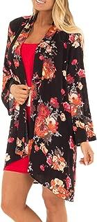 UOKNICE Ladies Chiffon Shawl Print Kimono Cardigan Top Floral Printed Belt Cover Up Blouse Beachwear