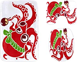 Fast Food Delicious Octopus Skewers Bathroom Rug Mats Set 3-Piece,Soft Shower Bath Rugs,Contour Mat and Toilet Seat Lid Co...