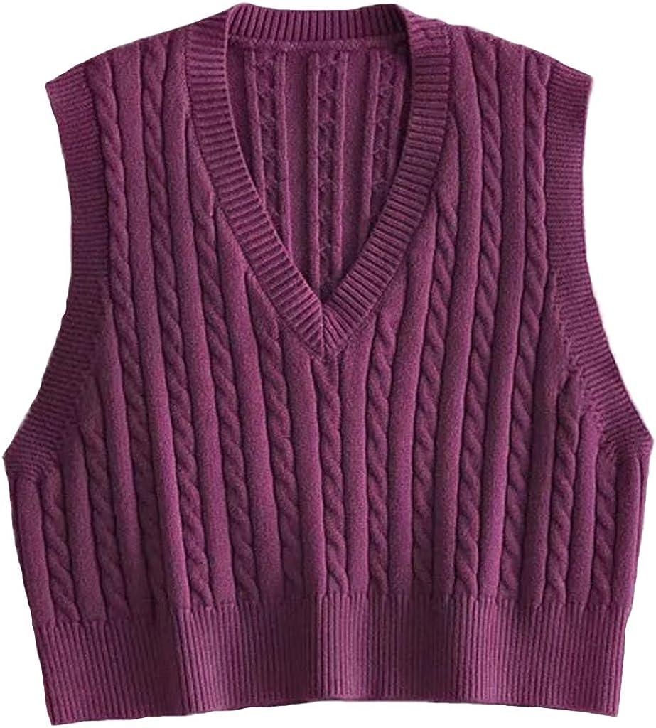 Women Solid Color Vintage Preppy Style Crop Knit Argyle Sweater Vest Sleeveless Loose V-Neck Waistcoat Knitwear Tank