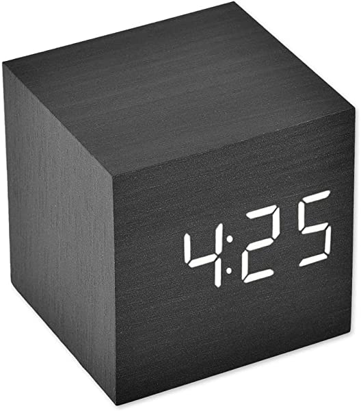Ace Select LED Alarm Clock Wooden Digital Alarm Clock Wood Cube Clock With Voice Activation Date Time And Temperature Display Alarm Function For Home And Office Black White Display