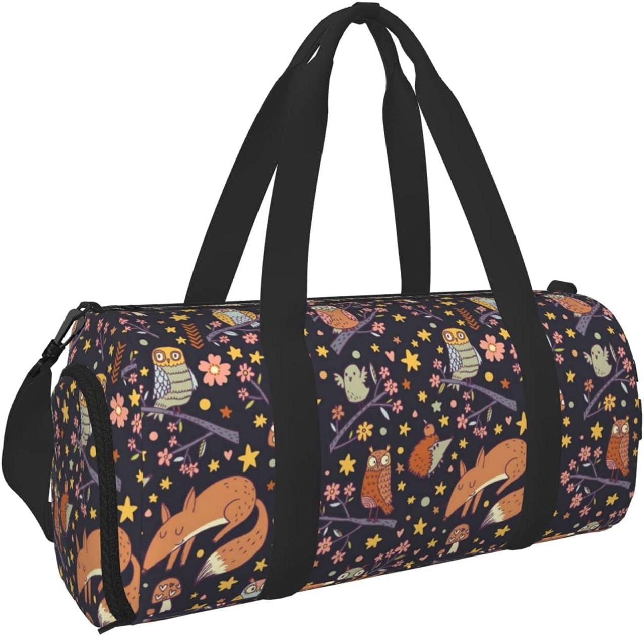 cute fox owl and Mushroom Gym for Men Award-winning store Travel Bag Women Inexpensive Duffe