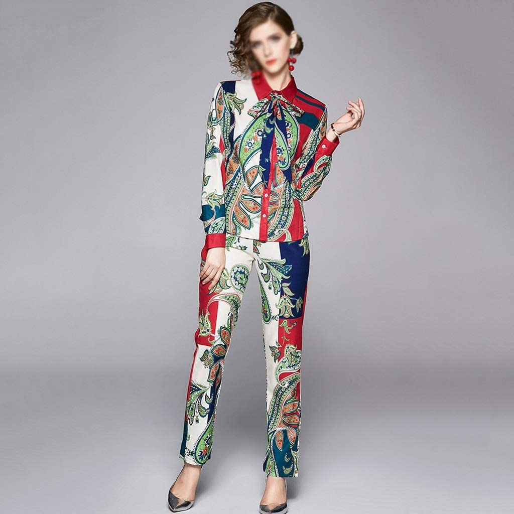 SGZYJ 2020 Spring Fashion Pant Set Suits Women's Turn-Down Collar Bow Tie Shirt Top+ Floral Printed Trousers Suit 2 Pieces Sets (Size : X-Large)