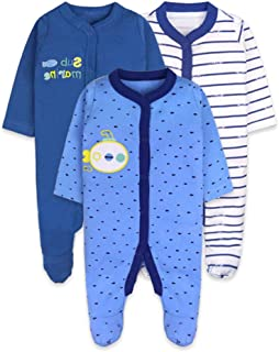 BOZEVON Baby Boys Girls Bodysuit 100% Cotton - Pajamas Short/Long Sleeve Romper Sleepsuit Newborn Outfits for 0-18 Months, Pack of 3/5